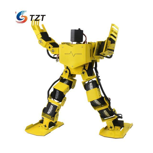 17DOF Biped Robótica Humanóide Robô Quadro Completo Kit w/17 pcs Servo + 32 Canal Controlador Robo-Alma H3.0-Amarelo