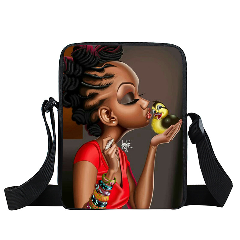 Afro Lady Girl messenger bag Africa Beauty Princess small shoulder bag brown women handbag mini totes teenager crossbody bags 43