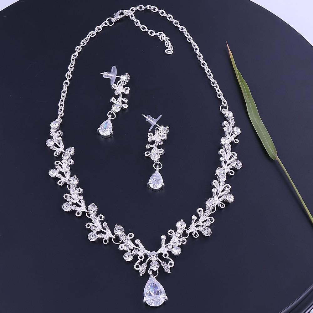 9 - Luxe Noble Feuille De Cristal, Bijoux De Mariée Strass Couronne Diadèmes Collier Boucles D'oreilles, Perles Africaines,