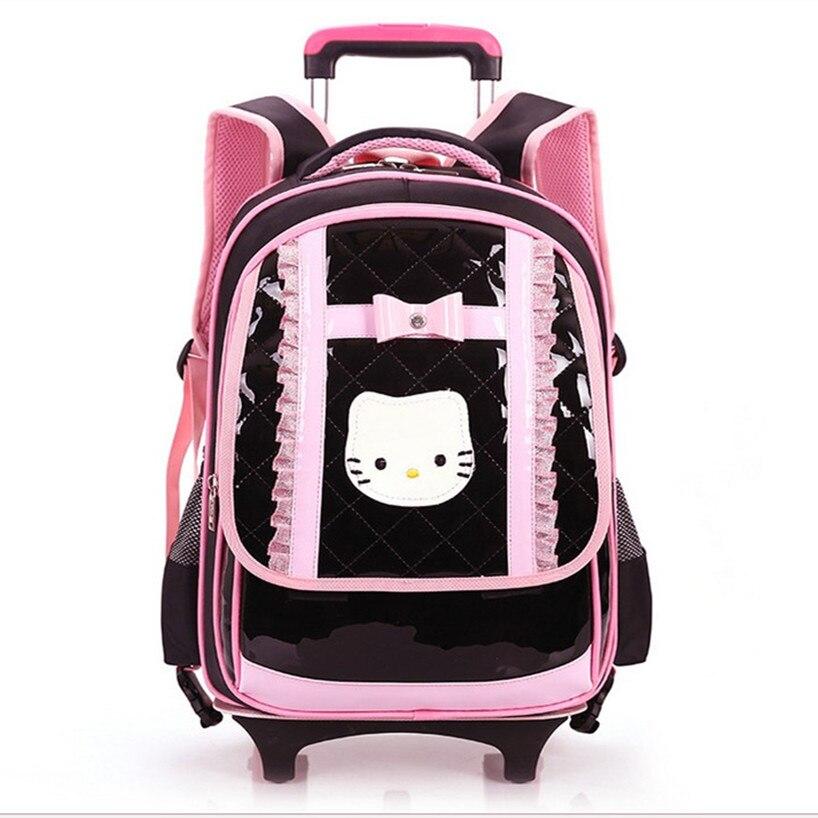 High Quality Waterproof Wheeled School Bags Girls 2017 New Style Cartoon PU Nylon Trolley SchoolBag for Children Backpack Bag xlash mascara