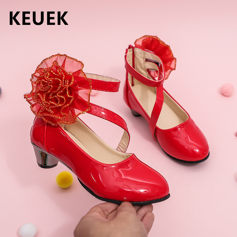 Children Dance Shoes High-heeled Leather Shoes Girls Princess Fashion Flower Party Shoes Baby Kids Single Shoes 04