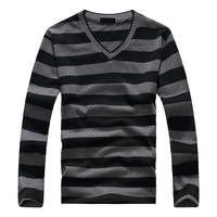 SAF-модный мужской сине-серый-белый полосатый хлопковый полосатый свитер с длинными рукавами, пуловер 17 цветов
