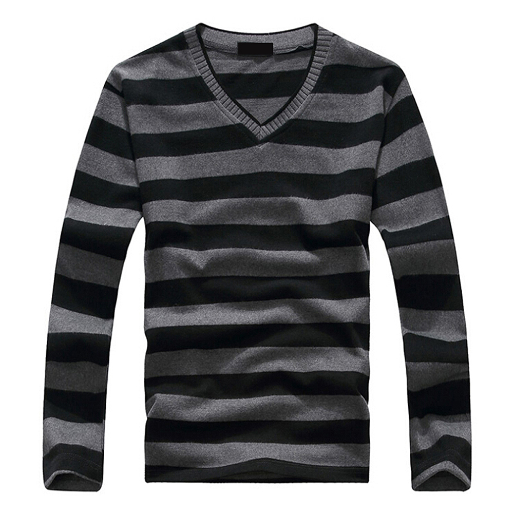 SAF-Fashion Men's Blue-Gray-White Stripe Long-sleeved Cotton Stripes Sweater Pullover 17-colors image