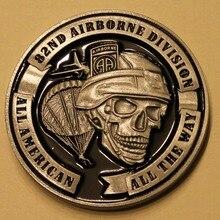 82-я Воздушная дивизия все американские все пути череп памятная монета для участника армейских соревнований Америка охраны od honor круглые монеты