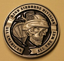 82nd Airborne Division All American the way Skull Army Challenge Coin Americas guard od honor round coins, free shipping