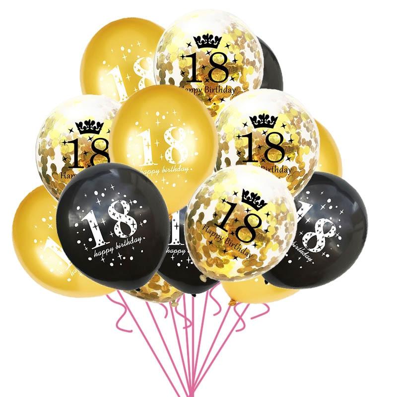 15pcs/set 18th Happy Birthday Balloon Decor Gold Silver Confetti Latex Balloons for 18 Year Old Birthday Celebrate Decoration