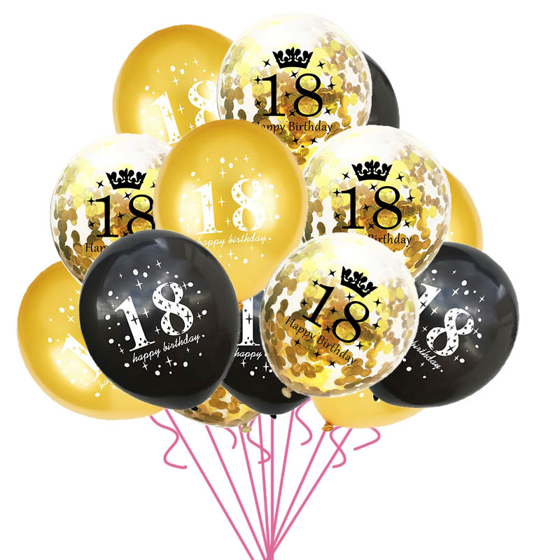 15pcs/set <font><b>18th</b></font> Happy <font><b>Birthday</b></font> Balloon Decor Gold Silver Confetti Latex Balloons for 18 Year Old <font><b>Birthday</b></font> Celebrate <font><b>Decoration</b></font> image