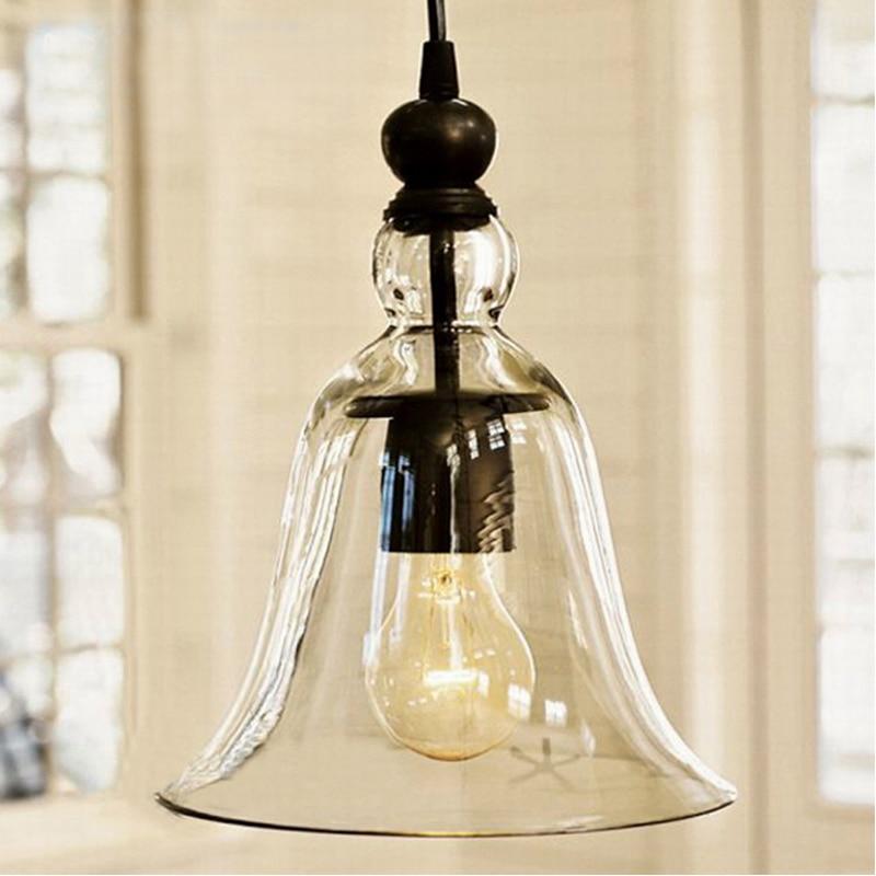ФОТО 12 Modern Hanging Industrial clear glass horn Pendant Lamps Lamparas De Techo Colgante kitchen Lamp