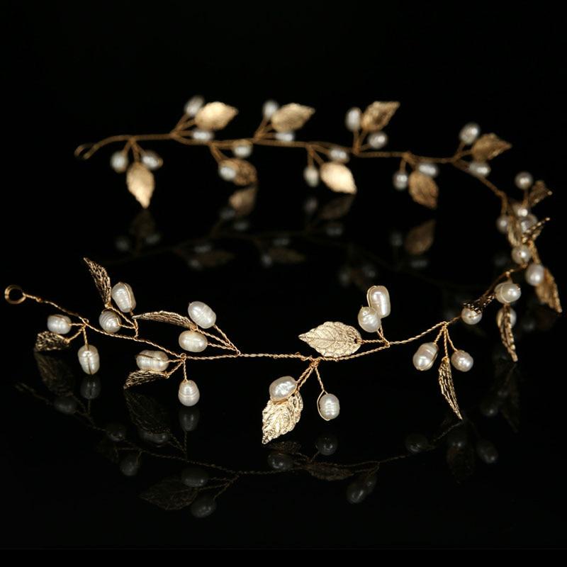Oro perla hoja diadema banda para el cabello tiaras y coronas casco - Bisutería - foto 3