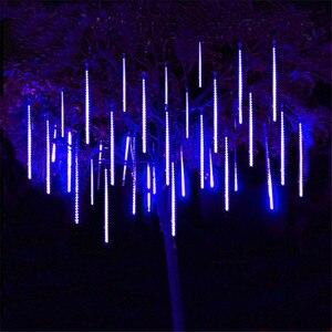 Thrisdar Meteor Shower Rain Light 30CM 50CM Outdoor Garden Snow Falling Raindrop Icicle Cascading Light Holiday Xmas Tree Light(China)