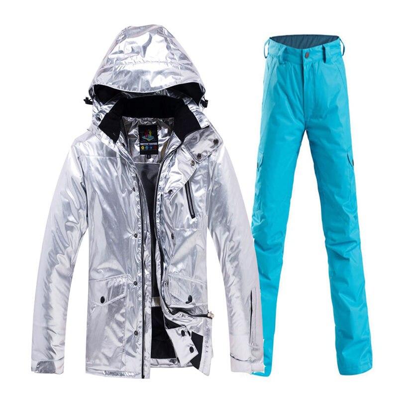 Brillant hommes et femmes neige Costume vêtements snowboard vêtements imperméable Costume sports de plein air hiver Ski veste + pantalon de neige - 3