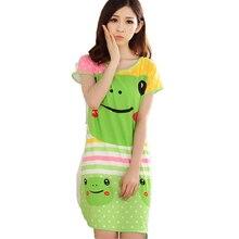 2016 Summer Fashion Women Sleepwear Cute Cartoon Print Short Sleeve Cotton Nightgowns Female Ladies Night Dresses Sleepshirt