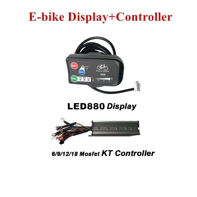 E bike Display LED880 KT Display and Electric Bicycle Controller Sine Wave KT Controller E bike