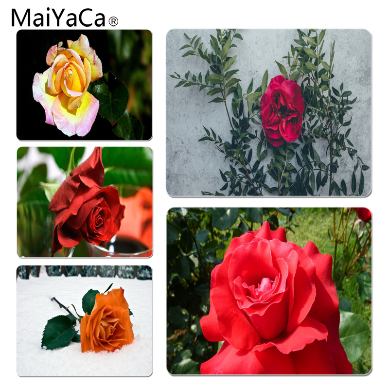 MaiYaCa Wild rose Leaves Large Mouse pad PC Computer mat Size for 18x22x0.2cm Gaming Mousepads