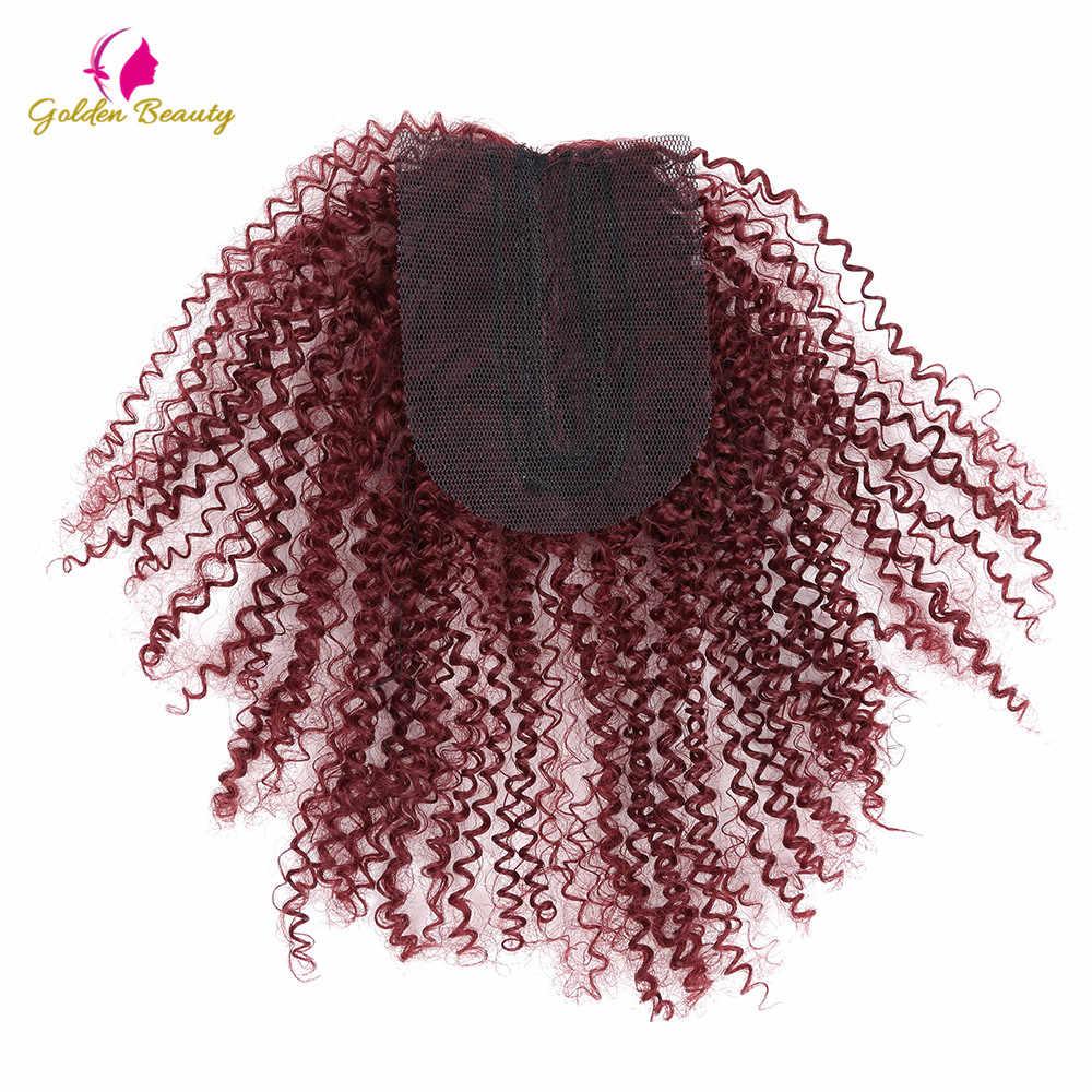 Gouden Schoonheid 4 stks/pak 12inch kinky Krullend Synthetisch Haar Inslagen Naai in Hair Extensions Weave voor vrouwen
