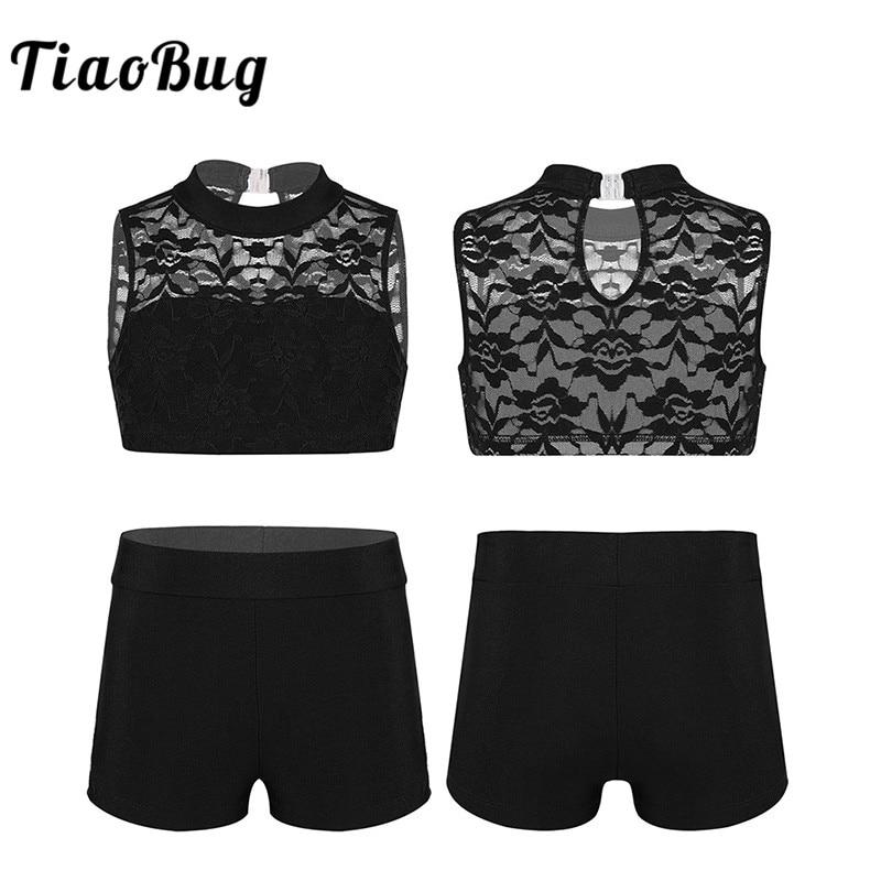 c695622726c69 TiaoBug Kids Teens Sleeveless Floral Lace Crop Top with Bottoms Girls Ballet  Sports Gymnastics Shorts Tops