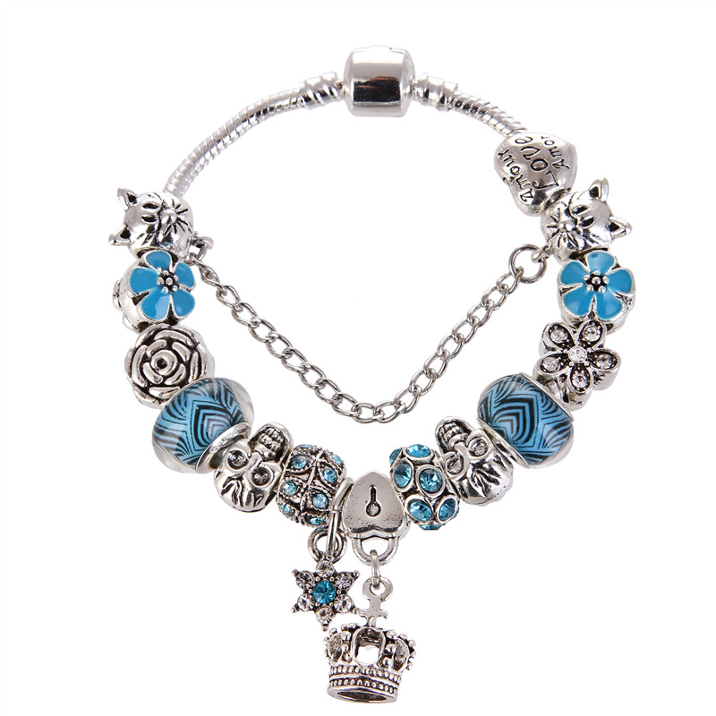 High Quality Blue crystal Rhinestone Bead Crown&Star Pendant Charms Noble Pretty Pandora Bracelet For Women/Gril gift jewelry