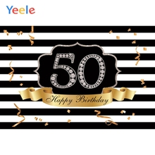 Yeele Happy 50th Birthday Party Photocall Background Gold Diamond Woman Man Custom Vinyl Photography Backdrop For Photo Studio