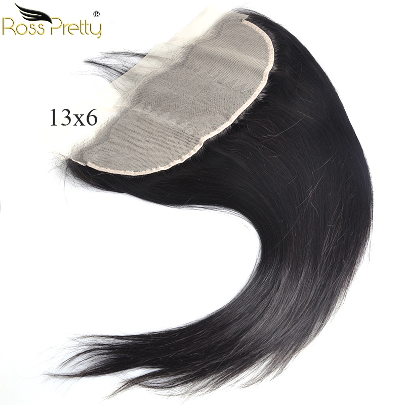 Lace Frontal Straight Brazilian Remy Human Hair Natural Color Swiss lace 13inx6in Front Pre Plucked Ross Pretty