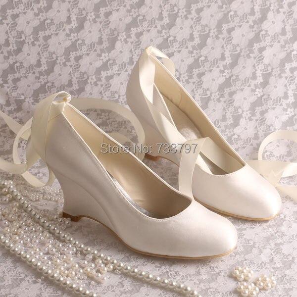 Wedopus Dropshiping Ivory Satin Wedge Heels Pumps Wedding Shoes Bridal with Ribbon