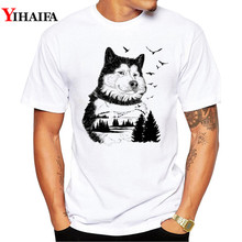 2019 T-Shirt Men 3D Print Bear Wolf Forest Graphic Tees Casual T Shirts White Tee  Hip Hop Animal Summer Tops men forest print tee