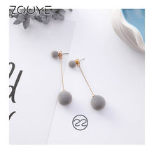 ZOUYE Super Fairy Cool Tone Hypoallergenic Acrylic Velvet Drop Earrings Allergy Free Sweet Lovely Cute Romantic Fashion Jewelry(China)