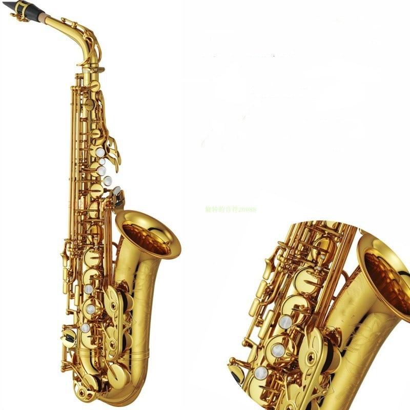 Haute Qualité YAS82Z E flat saxophone Alto Instrument de musique de qualité professionnelle Électrophorétique or saxophone Accessoires En Laiton