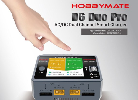 HOBBYMATE D6 Duo PRO Charger AC200W DC650W 15A For 1 6S Lipo Battery w Wireless Smartphone