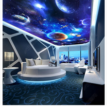 Star galaxy universe 3D living room walkway 3D three - dimensional painting 3d waterproof self - adhesive wallpaper coated paper все цены