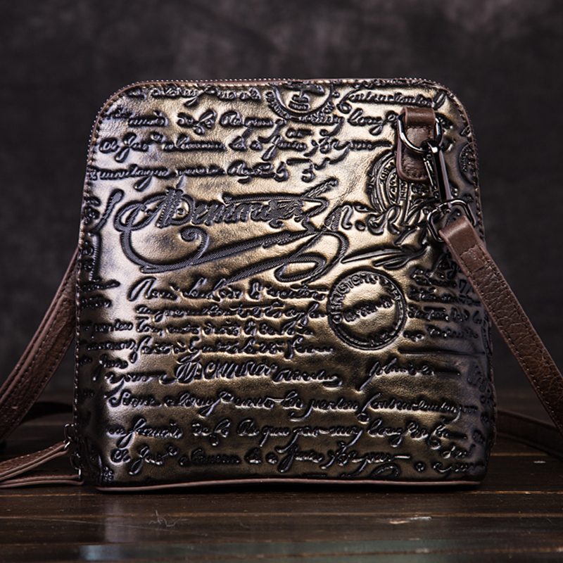 High Quality Genuine Leather Women Cross Body Bag Purse Embossed Letter Pattern Vintage Female Cowhide Messenger