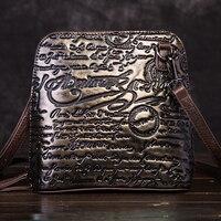 High Quality Genuine Leather Women Cross Body Bag Purse Embossed Letter Pattern Vintage Female Cowhide Messenger Shoulder Bags