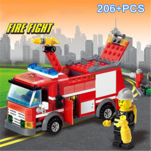 KAZI 8054 Fire Rescue Engine Truck Building Blocks 206pcs Educational DIY Construction Bricks Intelligent Toys For Children