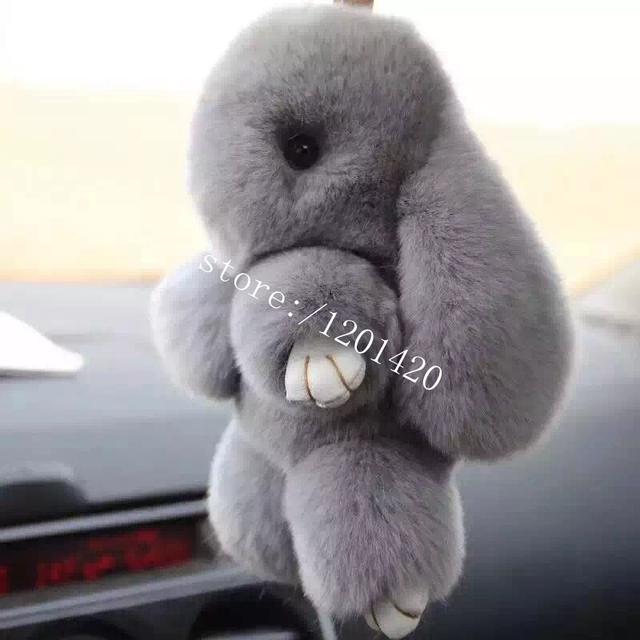 Bunny fur cham  keyring keychain Bag Charm Grey  Real Genuine Rabbit Fur Car Keychains Handbag Backpack Pendant  Rabbit Doll
