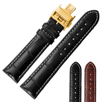 Male and female General purpose watch accessories Genuine leather watchband Bamboo texture Crocodile skin Butterfly clasp black