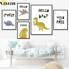 Cartoon Dinosaur Quote Animal Nordic Posters And Prints Wall Art Canvas Painting Pop Pictures For Kids Room Home Decor