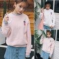 Invierno estilo de corea kawaii harajuku sudadera patchwork mujeres 2017 otoño sudadera con capucha de color rosa bordado hoodies mujeres pareja de coque