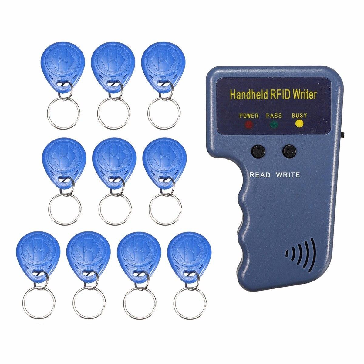 RFID 125 KHz Ausweis Copier Duplicator Hand Schriftsteller Programmer Reader + 10X Tags ID Keyfobs EM4100 EM410X Heißer Verkauf