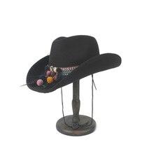 Западный ковбой Ha для женщин мужчин Шерсть Roll-up Brim джентльмен Outblack сомбреро Hombre джаз шляпа ветер веревка размер 56-58 см