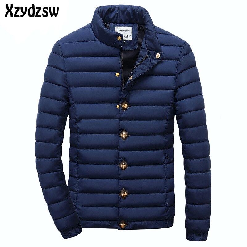 2016 Winter Warm Winddicht Oberbekleidung Stehen Kragen Männer Mäntel Streifen Baumwolle Wadded Parkas Mantel Männlich Größe L-3xl