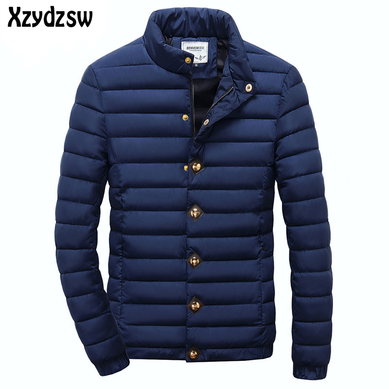 2016 Winter Jackets Men Warm Windproof Outerwear Stand Collar Men Coats Stripes Cotton Wadded Parkas Coat Male Large Size L-3XL