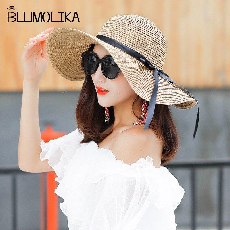2018 Nova Moda Feminina de Palha Dobrável Chapéu de Sol para As Mulheres  Verão Grandes Brimmed b5b1e8ff54b