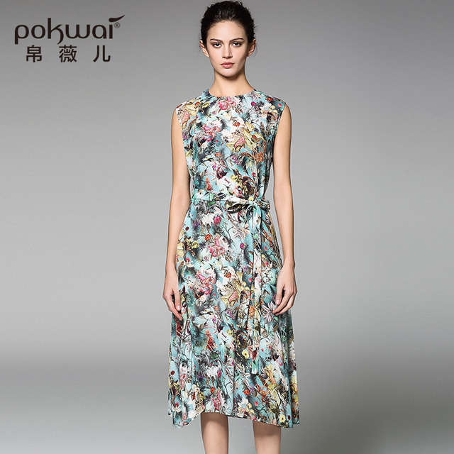 POKWAI Casual Summer Silk Dress High Quality Women Fashion 2017 New Arrival  Sleeveless O-Neck Sashes Floral Print A-Line Dresses