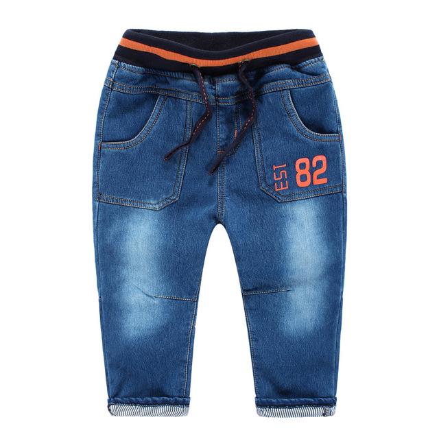 Pantalones Vaqueros de los niños de Invierno Otoño Pantalones de Los Niños Pantalones de Impresión Digital Plus pantalones Vaqueros de Terciopelo Chicos Lightly Washed Jeans Ropa de Niño