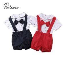 Brand New Gentalman Newborn Kid Baby Boy Outfit Clothes Jumpsuit Bodysuit+Pants Overall 2Pcs Set Children Summer Clothing