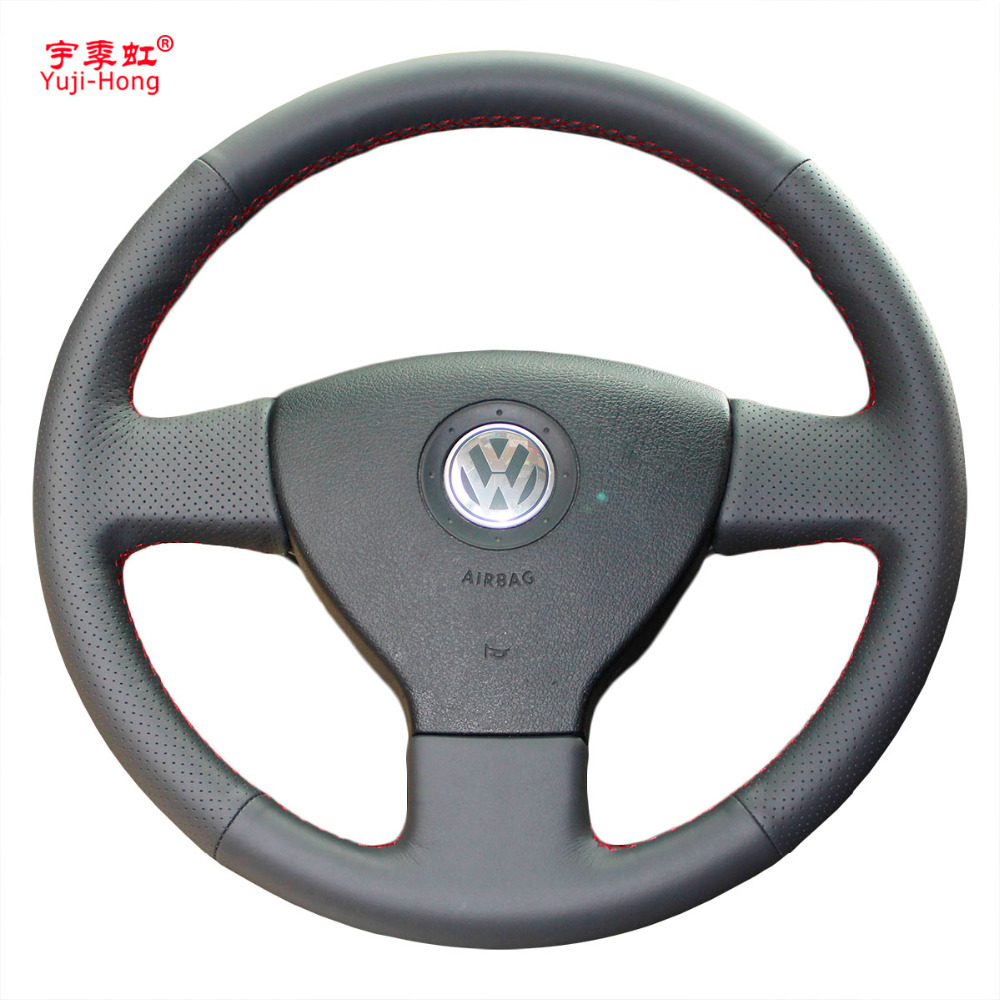 Yuji-Hong Car Steering Wheel Covers Case for Volkswagen VW Bora Polo Touran Magotan 2006-2011 Artificial Leather Hand-stitched
