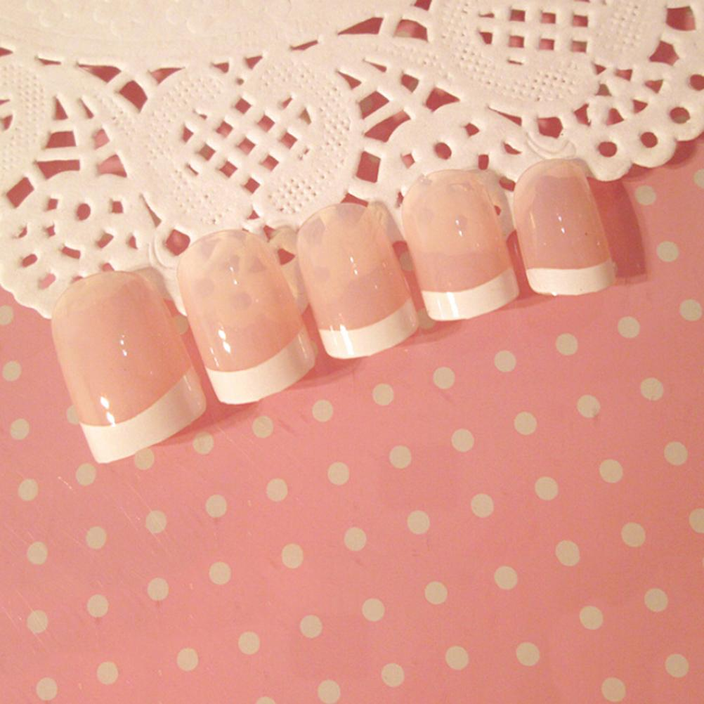 fashion wanita nail art lady gaya kuku palsu french manicure tips dengan