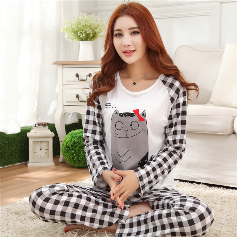 New Autumn/ Winter Pyjamas Women Pajama Sets Cartoon nightgown for women female girl O-Neck Long Sleeve Sleepwear free shipping
