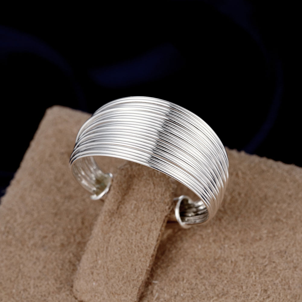 Adjustable Size Cool  Jewelry Silver Plated Ring Fine Fashion Multi Line Silver Rings For Women And Men Gift Finger Rings
