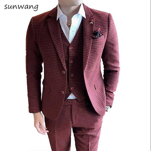 b3e83117a36 2019 tailor made slim fit suits for men retro Red lattice wedding dress  custom mens 3 piece suit Blazers (Jacket+vest+pant)