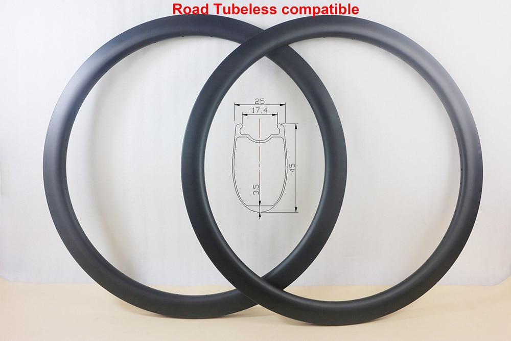 700C Tubeless compatible 45mm clincher carbon road bike circle 25mm external 24 28 32 36 holes